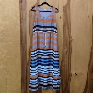 Dylan Drawstring Striped Maxi Dress Sz M